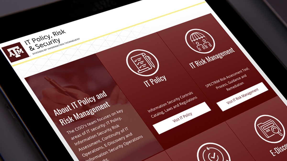 The mobile-friendly IT Policy, Risk & Security website displays on a tablet.