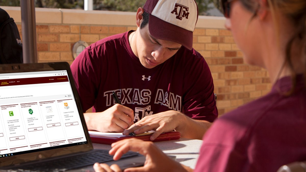Aggie orders software from software.tamu.edu for her laptop while outside of the MSC.